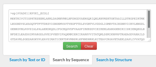 Screenshot of the input form used when searching CATH by protein sequence